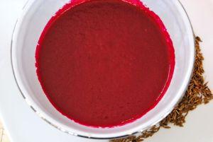 Soupe froide betterave, orange et cumin